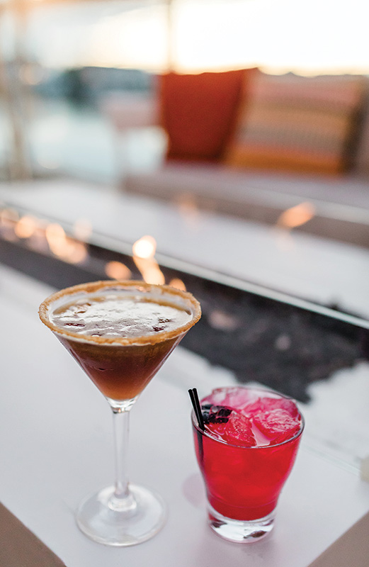Cocktails at fire pit